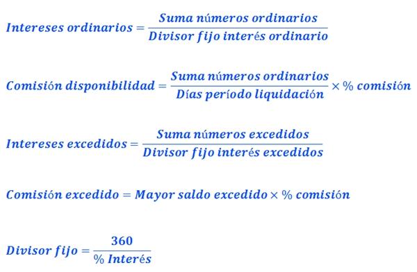 Contaone_fórmulas_liquidacion_cuentas_de_crédito